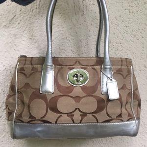 Coach Hamptons Madeline silver/tan satchel